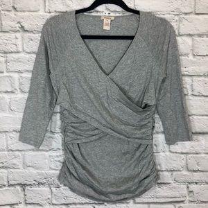 Sundance Gray 3/4 Sleeve V Neck Blouse Top